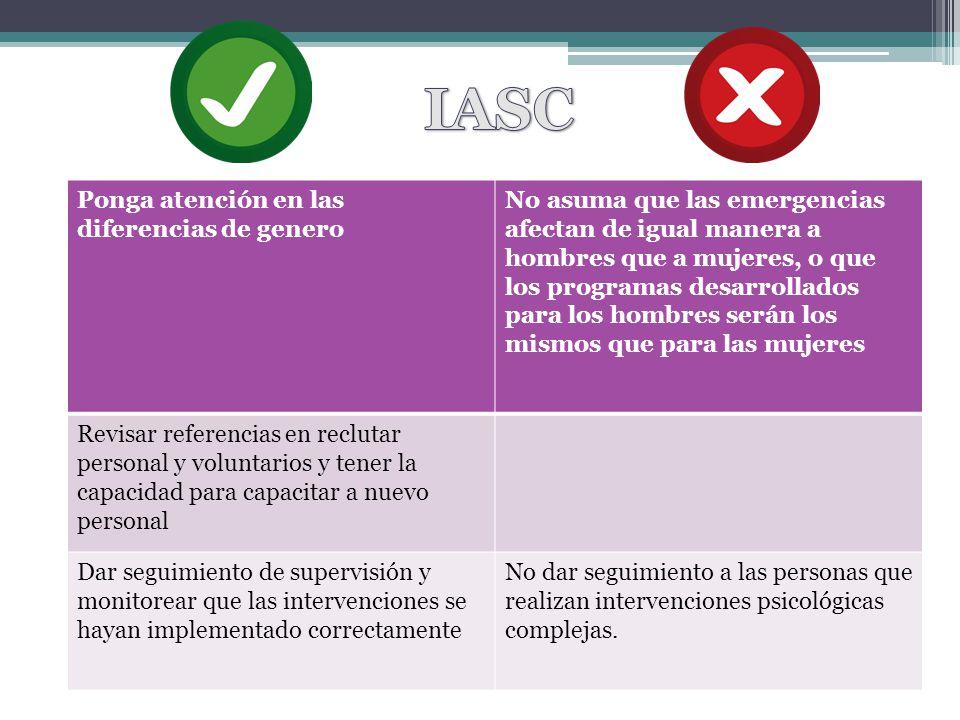 IASC Ponga atención en las diferencias de genero