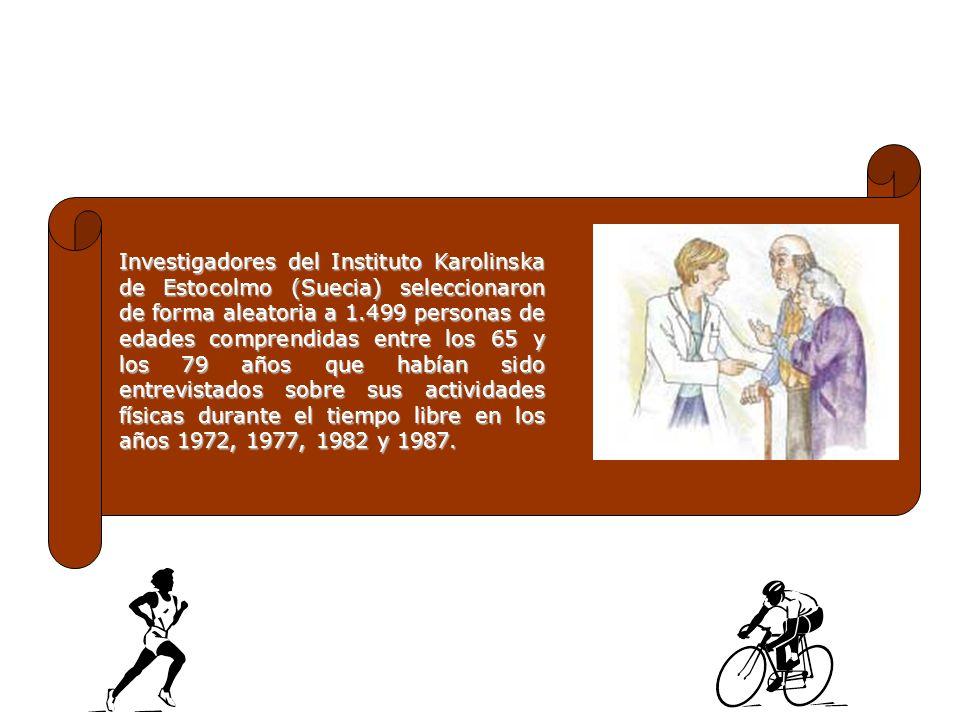 Investigadores del Instituto Karolinska de Estocolmo (Suecia) seleccionaron de forma aleatoria a 1.499 personas de edades comprendidas entre los 65 y los 79 años que habían sido entrevistados sobre sus actividades físicas durante el tiempo libre en los años 1972, 1977, 1982 y 1987.