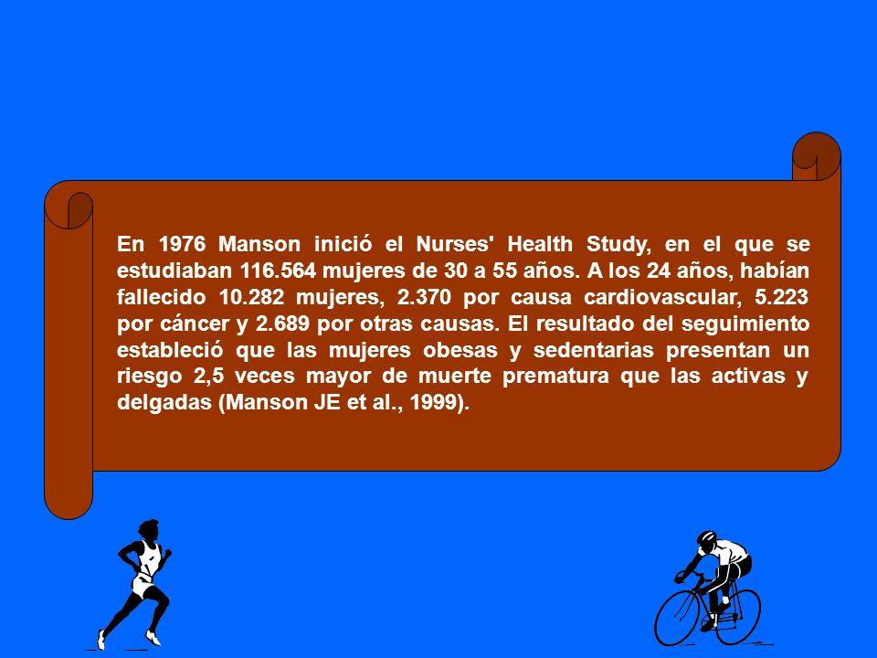 En 1976 Manson inició el Nurses Health Study, en el que se estudiaban 116.564 mujeres de 30 a 55 años.