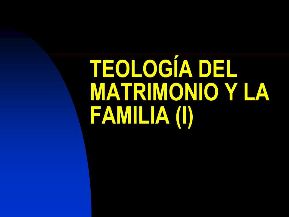 TEOLOGÍA DEL MATRIMONIO Y LA FAMILIA (I)