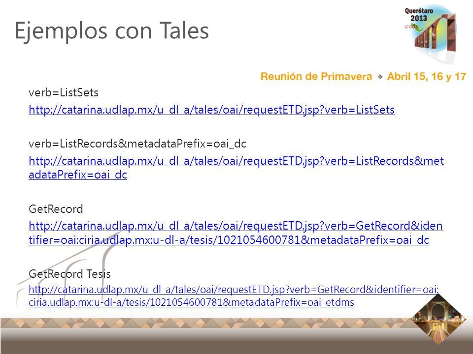 Ejemplos con Tales verb=ListSets