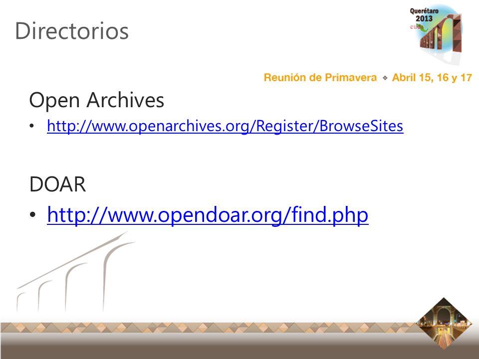 Directorios Open Archives DOAR http://www.opendoar.org/find.php