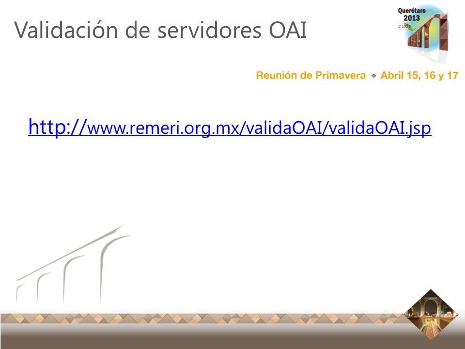 Validación de servidores OAI