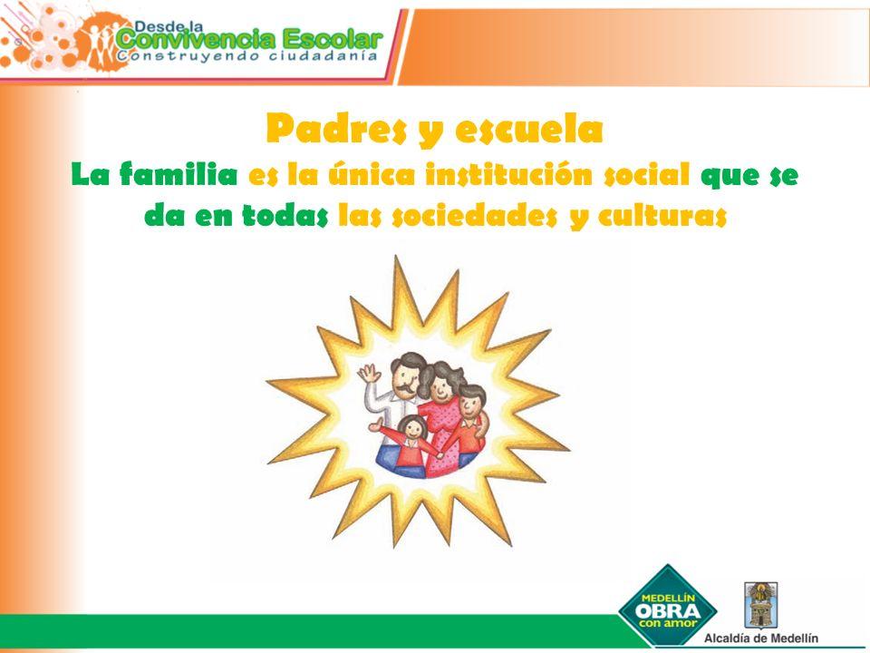 Padres y escuela La familia es la única institución social que se da en todas las sociedades y culturas.