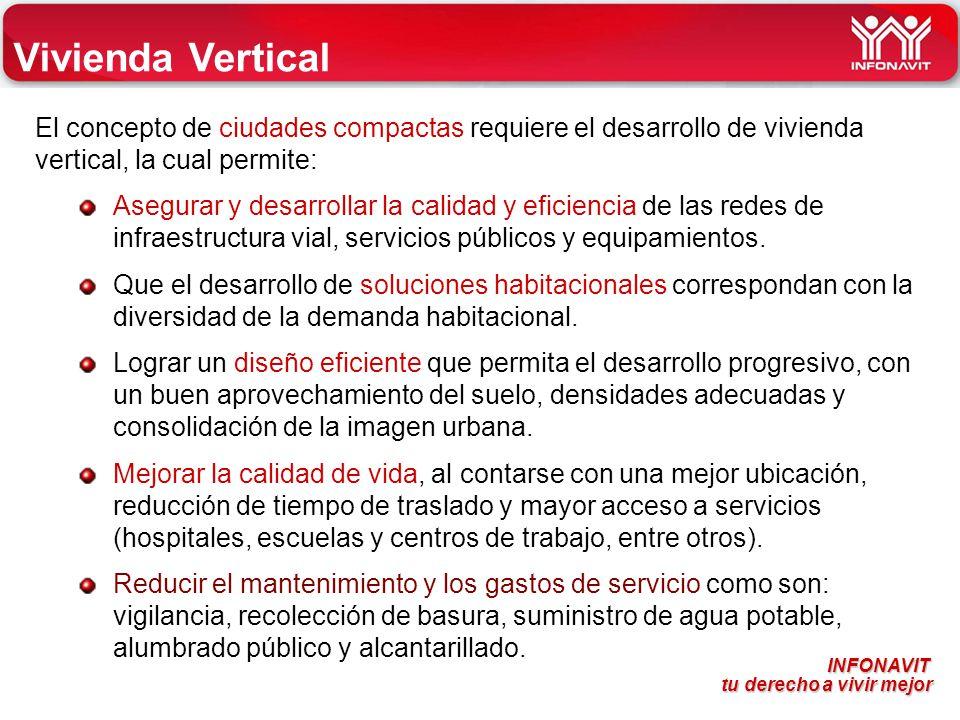 Vivienda Vertical El concepto de ciudades compactas requiere el desarrollo de vivienda vertical, la cual permite: