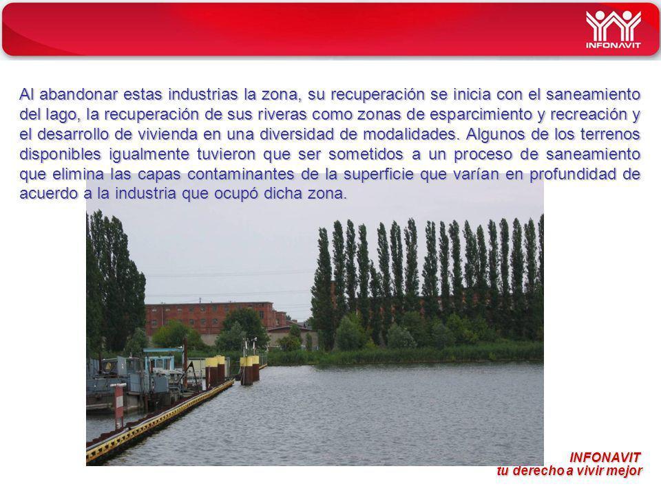 Al abandonar estas industrias la zona, su recuperación se inicia con el saneamiento del lago, la recuperación de sus riveras como zonas de esparcimiento y recreación y el desarrollo de vivienda en una diversidad de modalidades.