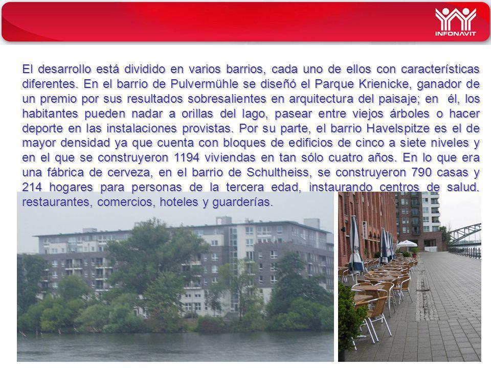 El desarrollo está dividido en varios barrios, cada uno de ellos con características diferentes.