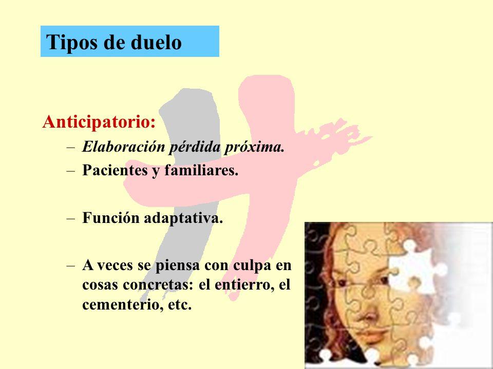 Tipos de duelo Anticipatorio: Elaboración pérdida próxima.
