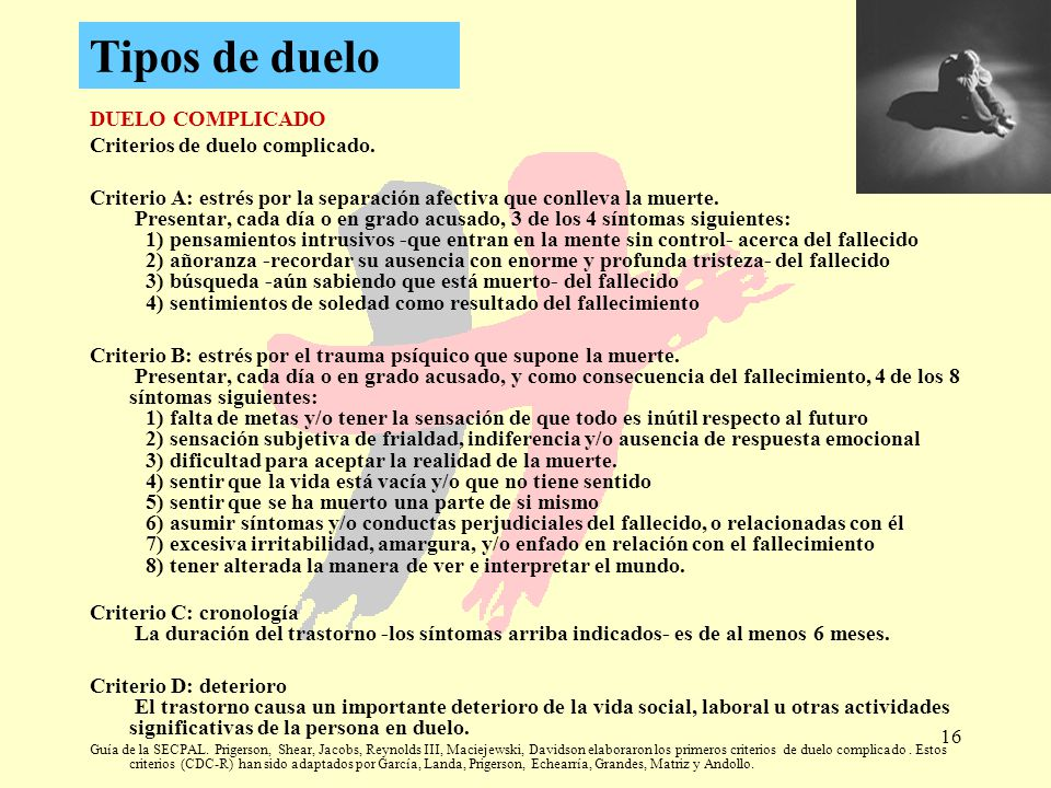 Tipos de duelo DUELO COMPLICADO Criterios de duelo complicado.