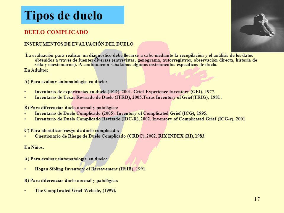 Tipos de duelo DUELO COMPLICADO INSTRUMENTOS DE EVALUACIÓN DEL DUELO
