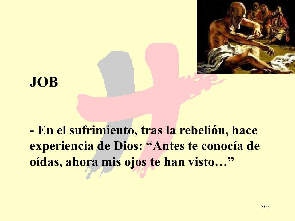 JOB - En el sufrimiento, tras la rebelión, hace experiencia de Dios: Antes te conocía de oídas, ahora mis ojos te han visto…