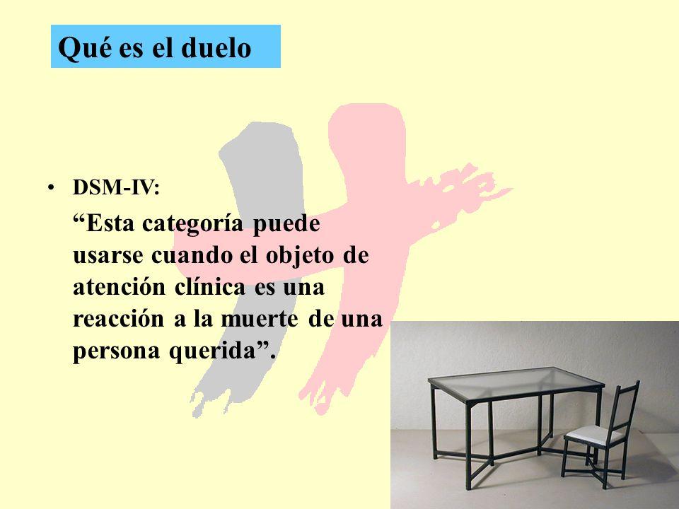 Qué es el duelo DSM-IV: Esta categoría puede usarse cuando el objeto de atención clínica es una reacción a la muerte de una persona querida .