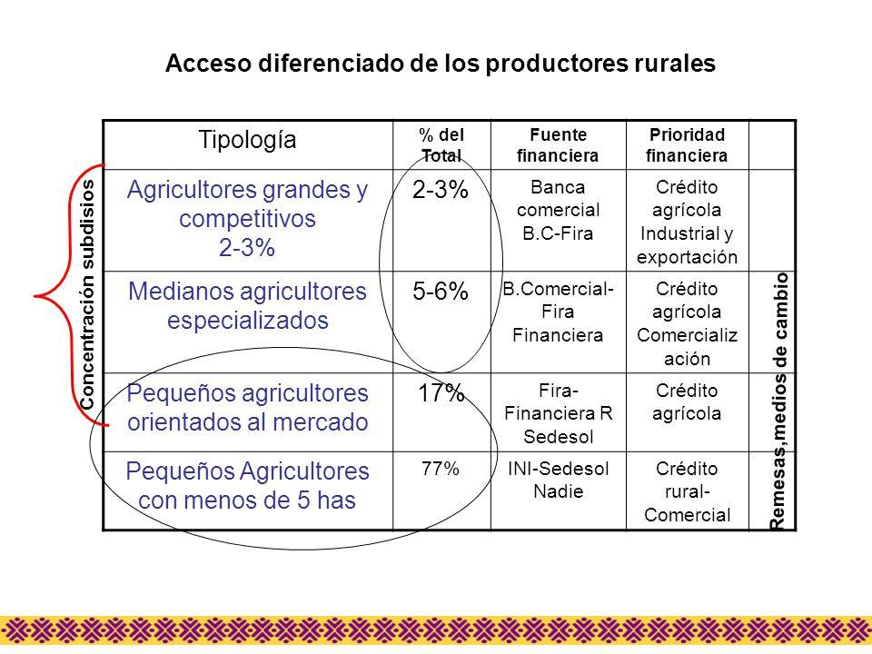 Acceso diferenciado de los productores rurales Concentración subdisios