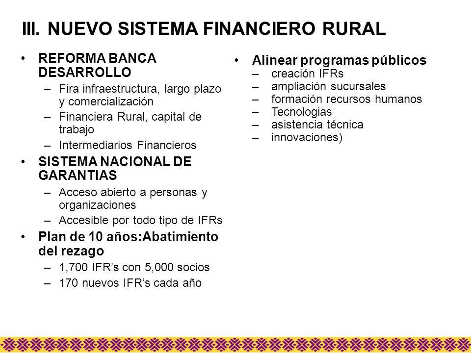 III. NUEVO SISTEMA FINANCIERO RURAL