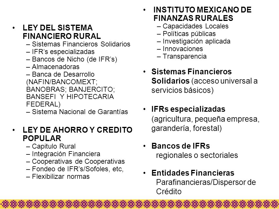 INSTITUTO MEXICANO DE FINANZAS RURALES