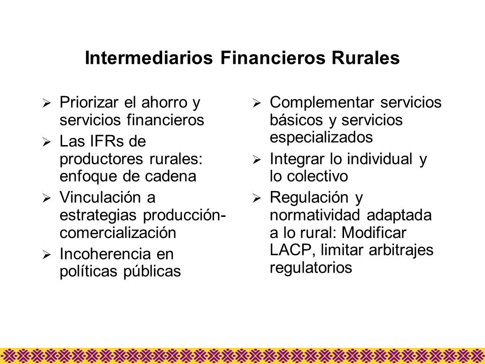 Intermediarios Financieros Rurales