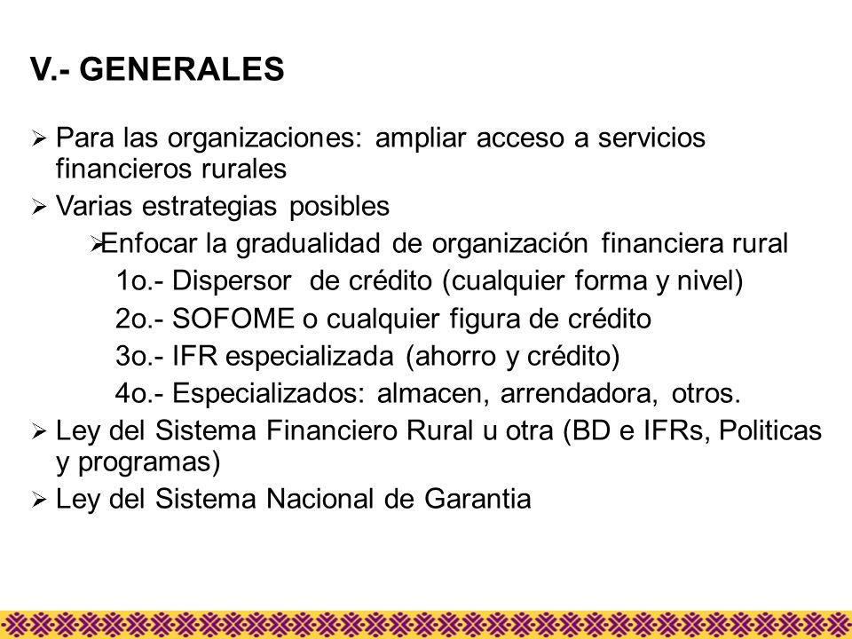 V.- GENERALES Para las organizaciones: ampliar acceso a servicios financieros rurales. Varias estrategias posibles.