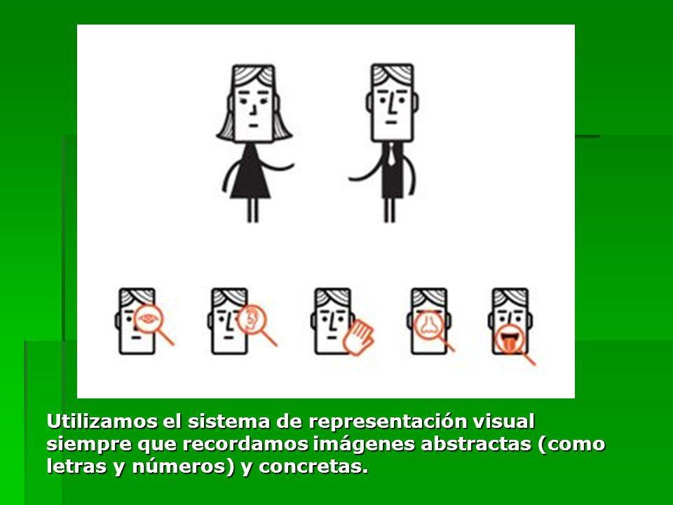 Utilizamos el sistema de representación visual siempre que recordamos imágenes abstractas (como letras y números) y concretas.