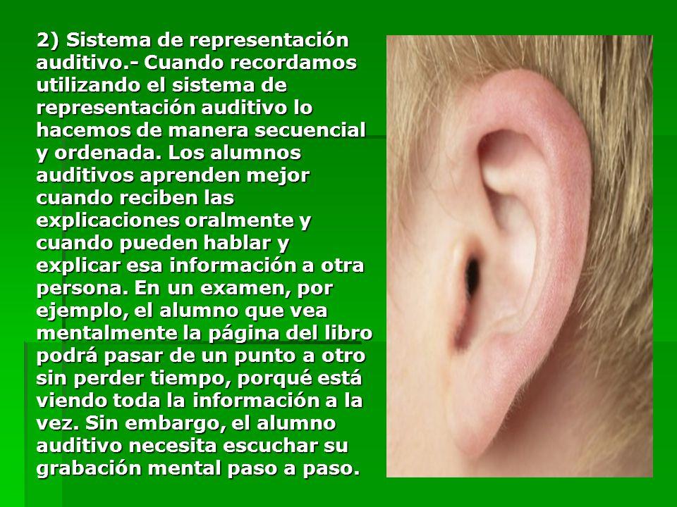 2) Sistema de representación auditivo