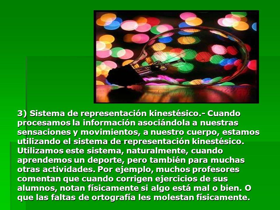 3) Sistema de representación kinestésico