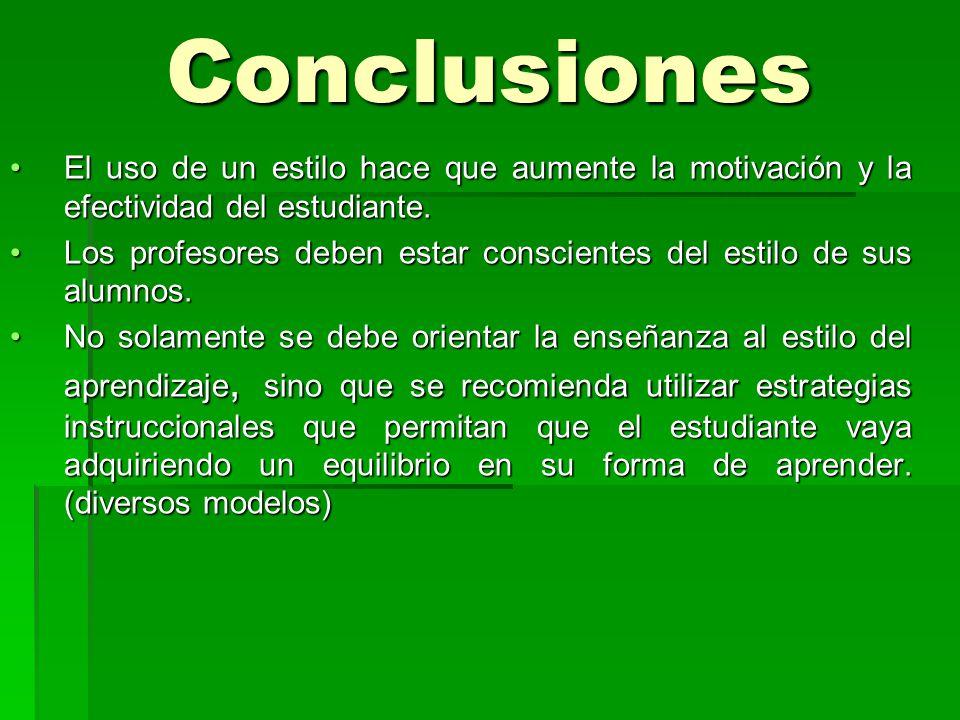 Conclusiones El uso de un estilo hace que aumente la motivación y la efectividad del estudiante.