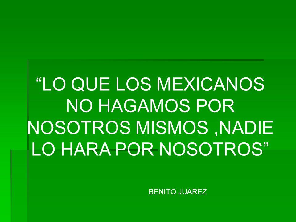 LO QUE LOS MEXICANOS NO HAGAMOS POR NOSOTROS MISMOS ,NADIE LO HARA POR NOSOTROS