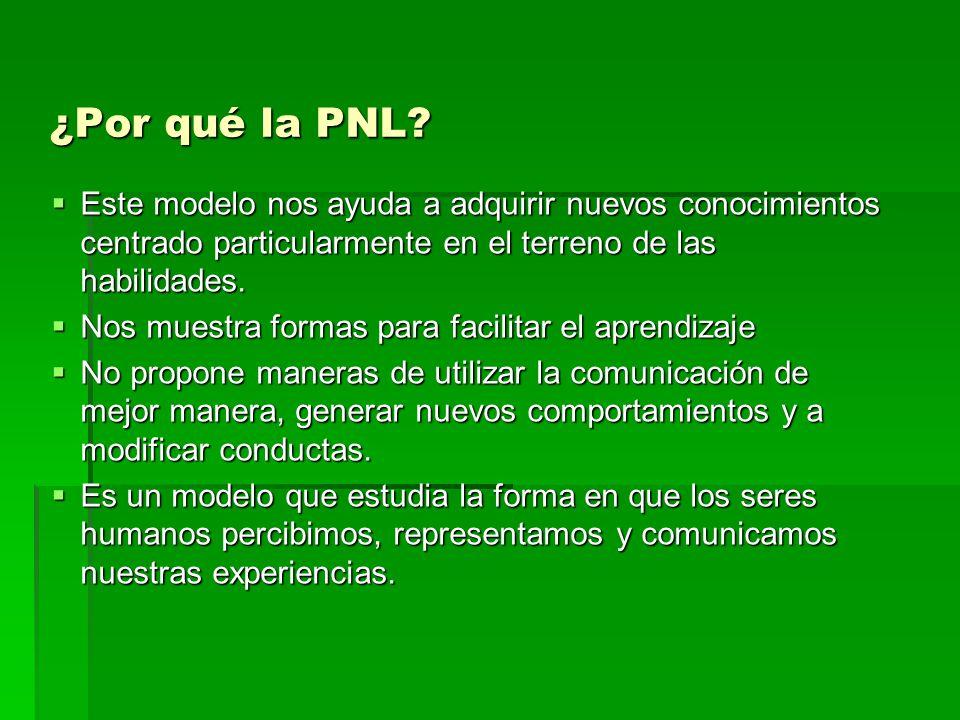 ¿Por qué la PNL Este modelo nos ayuda a adquirir nuevos conocimientos centrado particularmente en el terreno de las habilidades.