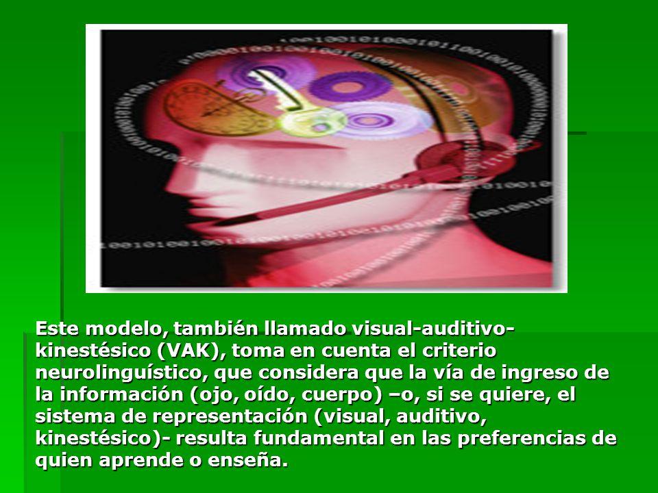 Este modelo, también llamado visual-auditivo-kinestésico (VAK), toma en cuenta el criterio neurolinguístico, que considera que la vía de ingreso de la información (ojo, oído, cuerpo) –o, si se quiere, el sistema de representación (visual, auditivo, kinestésico)- resulta fundamental en las preferencias de quien aprende o enseña.