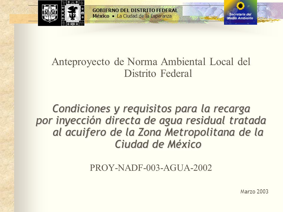 Anteproyecto de Norma Ambiental Local del Distrito Federal