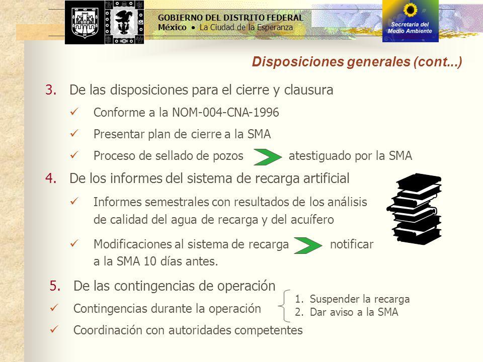 Disposiciones generales (cont...)
