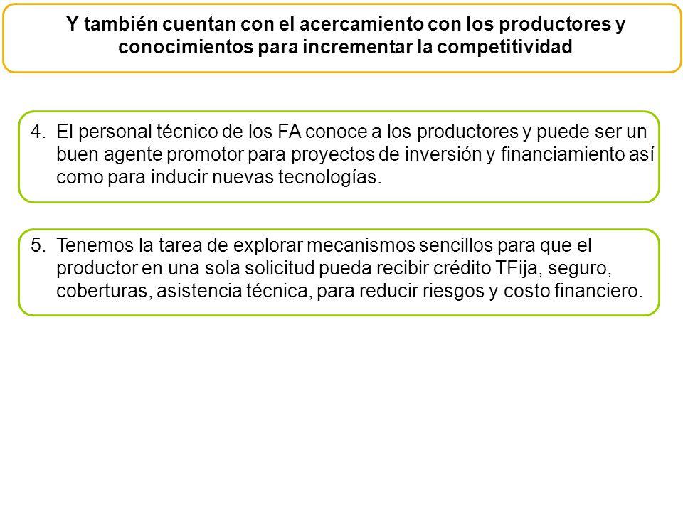 Y también cuentan con el acercamiento con los productores y conocimientos para incrementar la competitividad