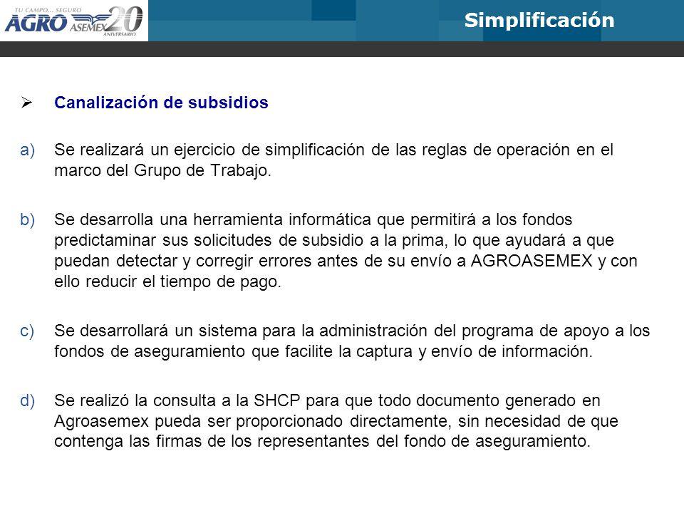 Simplificación Canalización de subsidios