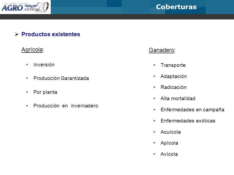 Coberturas Productos existentes Agrícola: Ganadero: Inversión