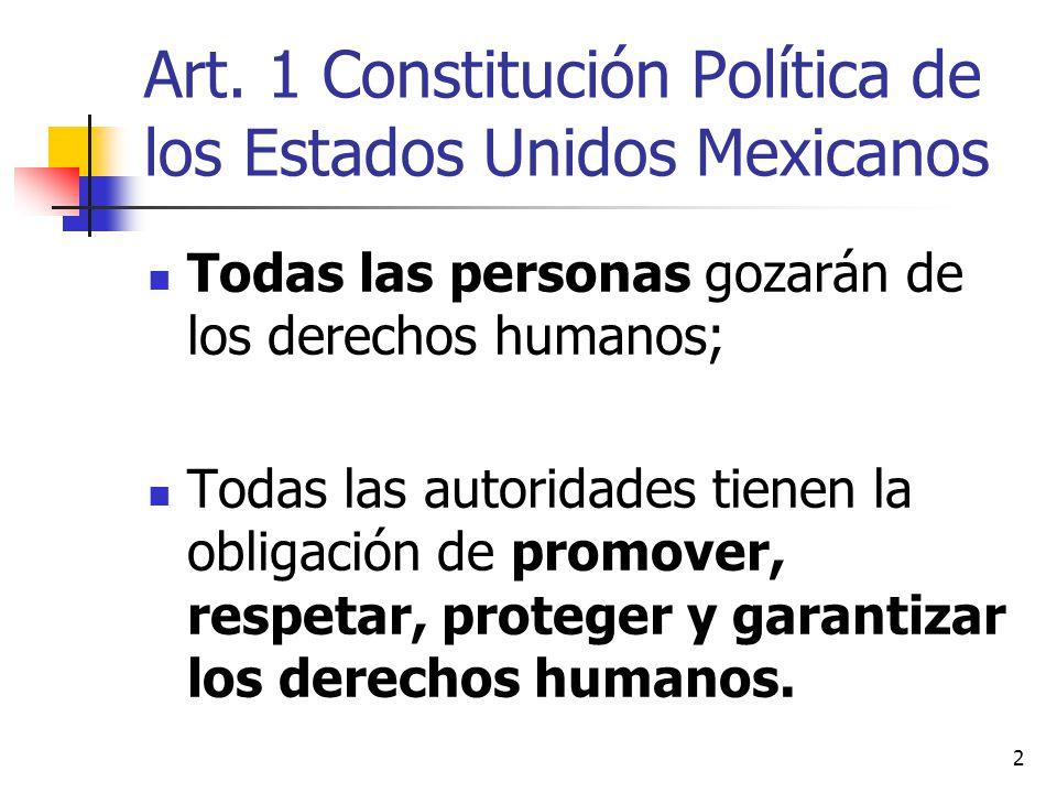 Art. 1 Constitución Política de los Estados Unidos Mexicanos