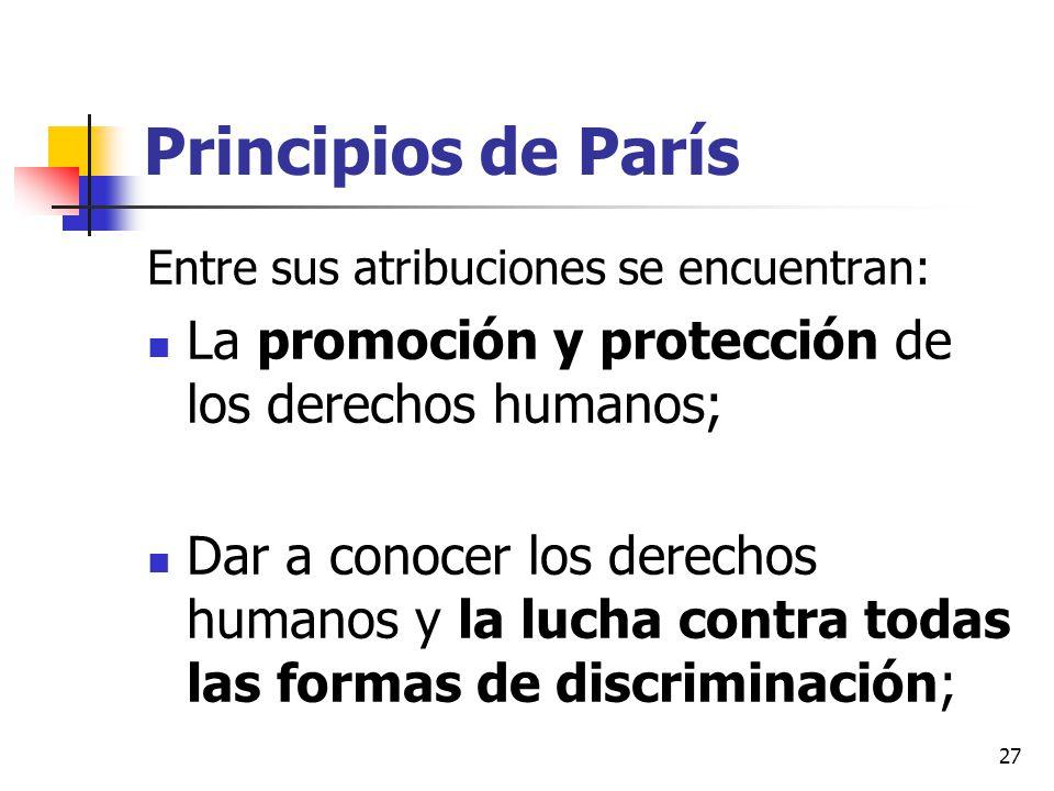 Principios de París La promoción y protección de los derechos humanos;
