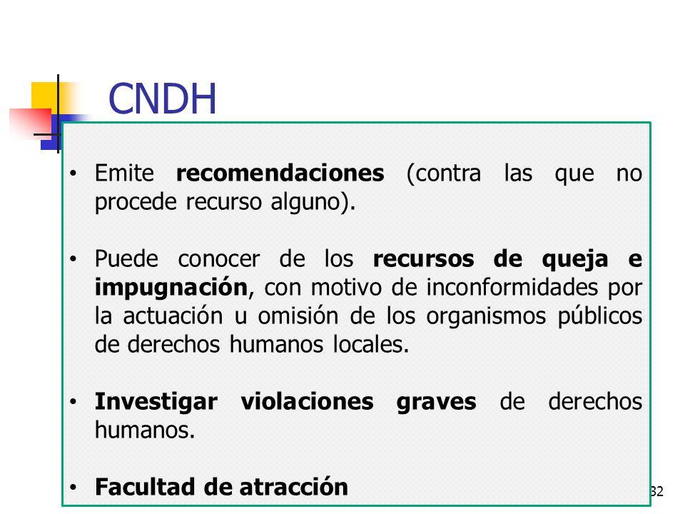 CNDH Emite recomendaciones (contra las que no procede recurso alguno).