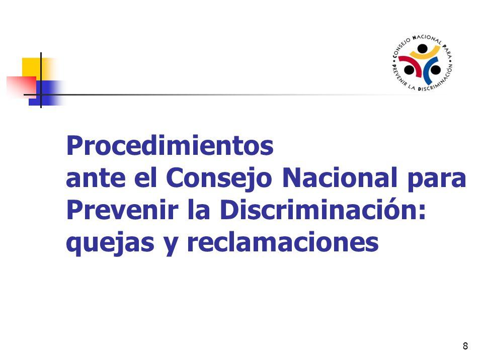 Procedimientos ante el Consejo Nacional para Prevenir la Discriminación: quejas y reclamaciones