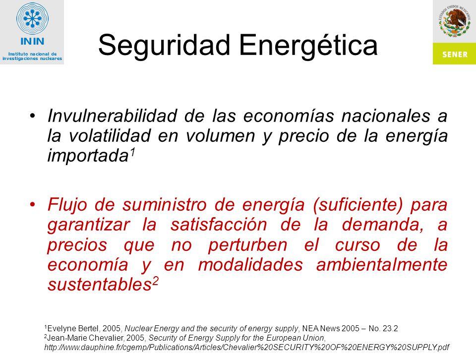 Seguridad Energética Invulnerabilidad de las economías nacionales a la volatilidad en volumen y precio de la energía importada1.