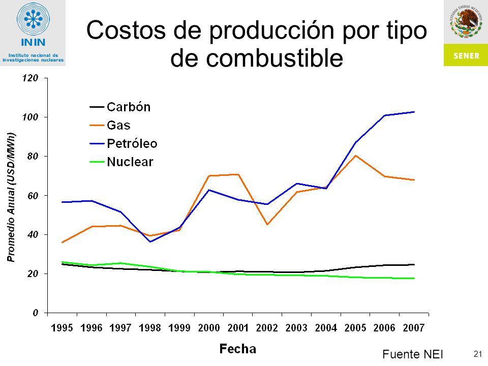 Costos de producción por tipo de combustible
