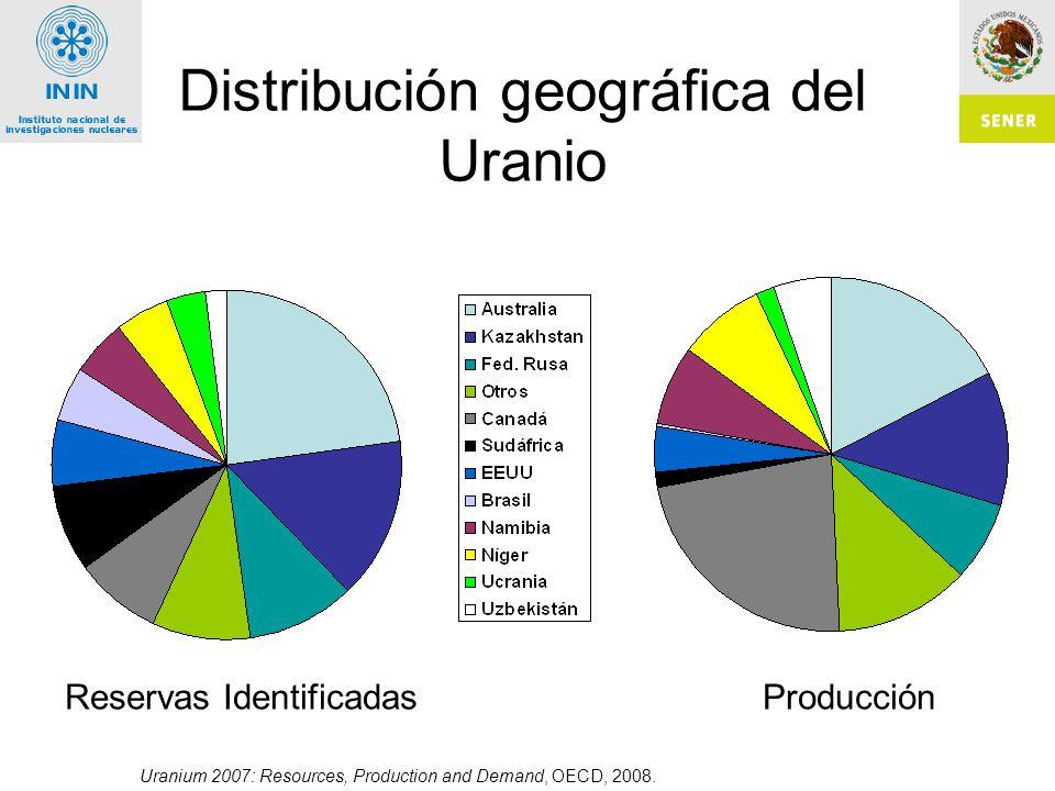 Distribución geográfica del Uranio