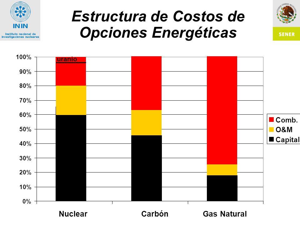 Estructura de Costos de Opciones Energéticas