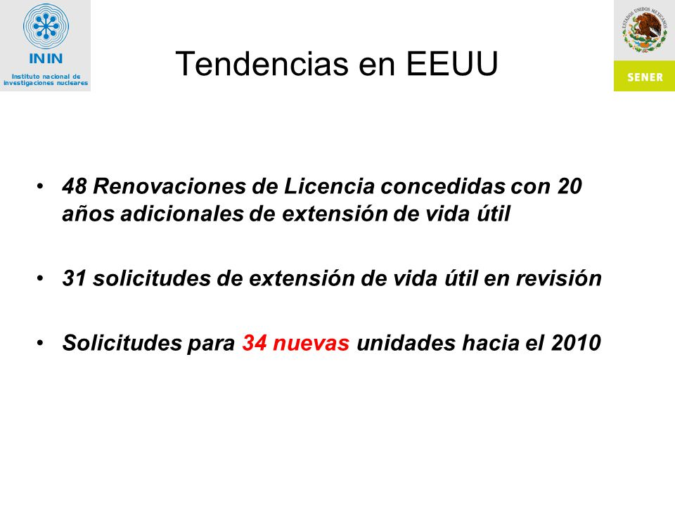 Tendencias en EEUU 48 Renovaciones de Licencia concedidas con 20 años adicionales de extensión de vida útil.
