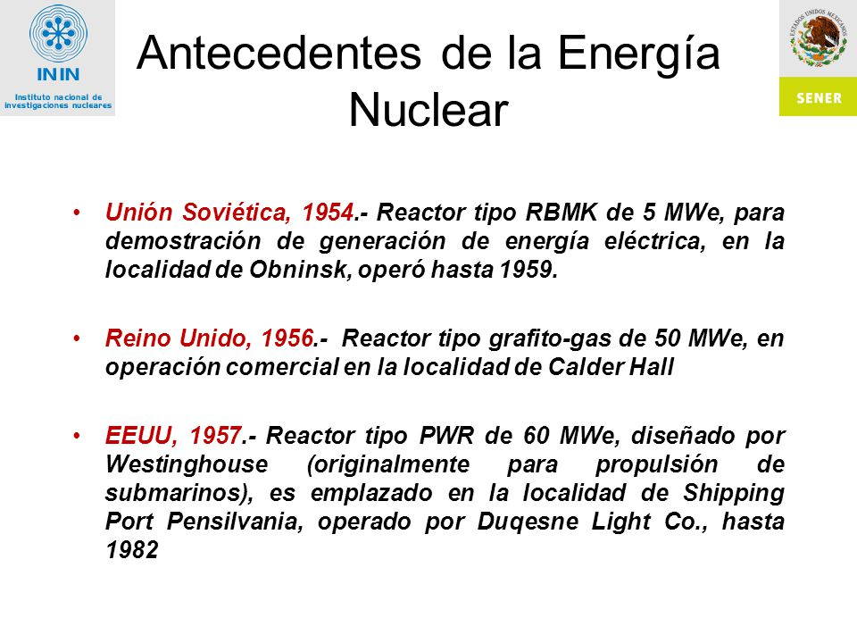 Antecedentes de la Energía Nuclear