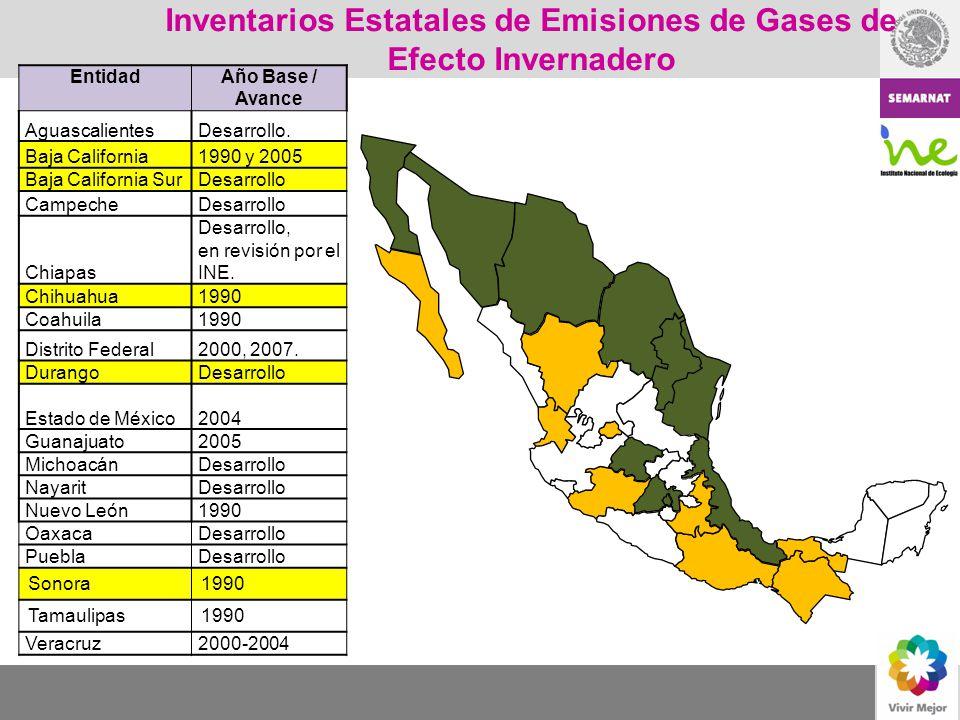 Inventarios Estatales de Emisiones de Gases de Efecto Invernadero