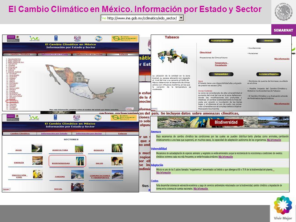 El Cambio Climático en México. Información por Estado y Sector