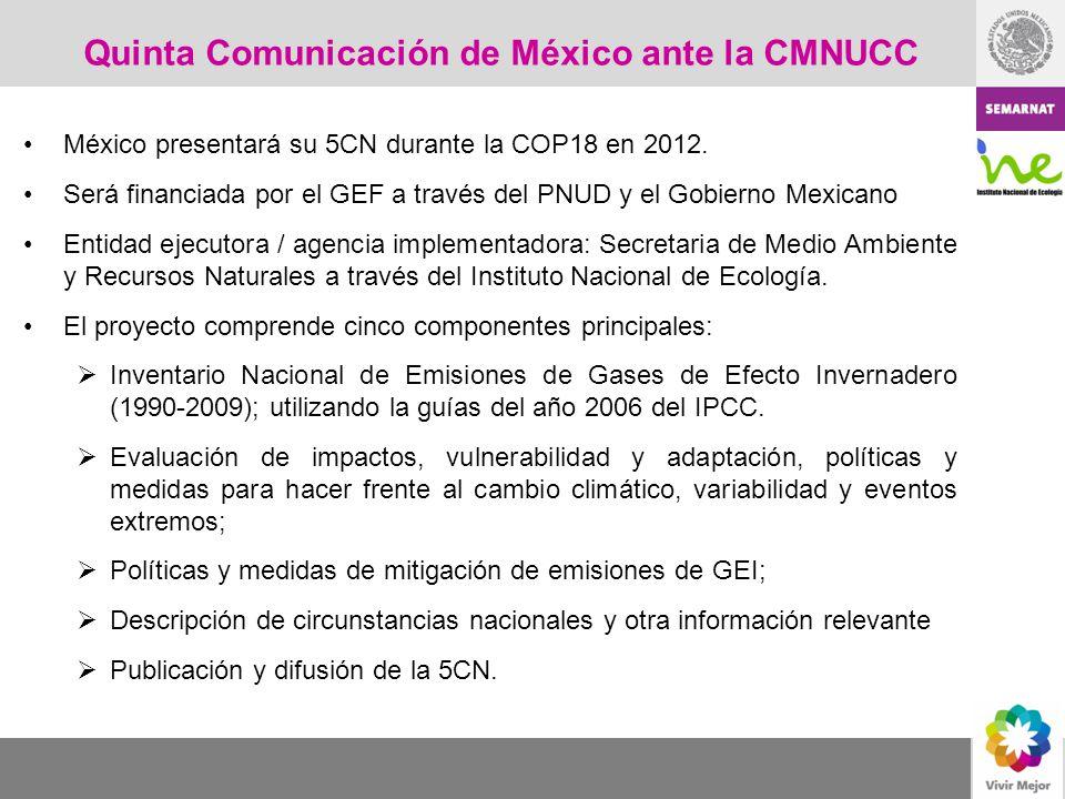 Quinta Comunicación de México ante la CMNUCC