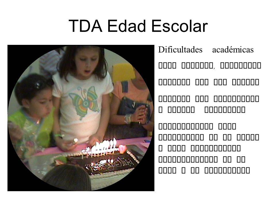 TDA Edad Escolar Dificultades académicas Para atender, memorizar