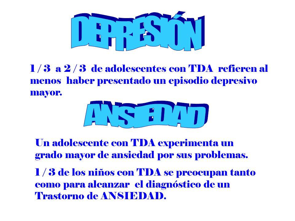 DEPRESIÓN 1 / 3 a 2 / 3 de adolescentes con TDA refieren al menos haber presentado un episodio depresivo mayor.