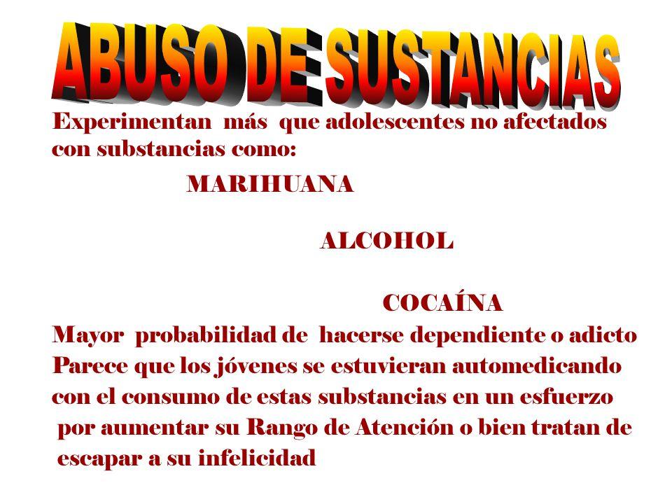 ABUSO DE SUSTANCIAS Experimentan más que adolescentes no afectados con substancias como: MARIHUANA.