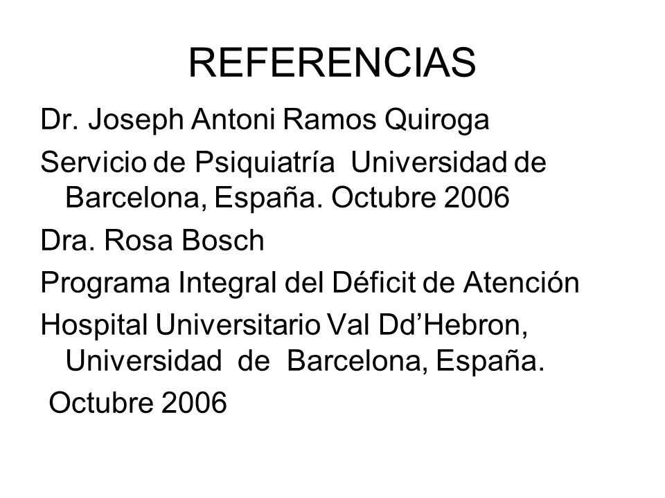 REFERENCIAS Dr. Joseph Antoni Ramos Quiroga